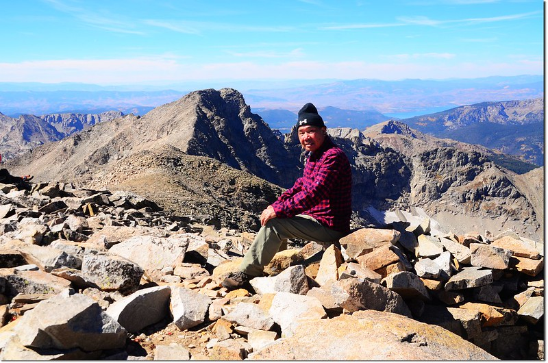 Me on the summit of Mount Audubon, with Paiute Peak in background