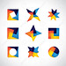 colorful geometric shapes vector icons of design elements