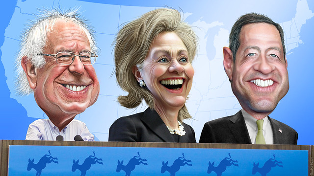Top Three 2016 Democratic Candidates - Caricatures