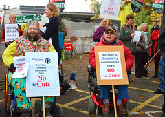 Disabled people protesting outside Norfolk County Hall against Norfolk County Council cuts to services A3 size