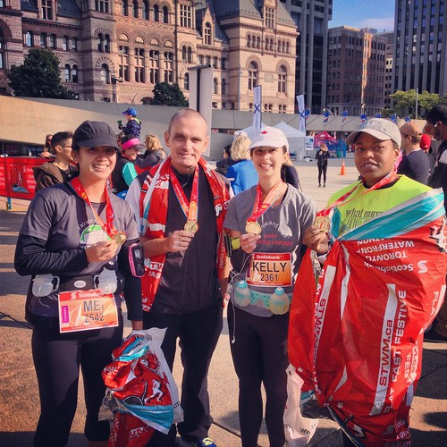 Marathoners! Me, Jason, Kelly and Arlene.