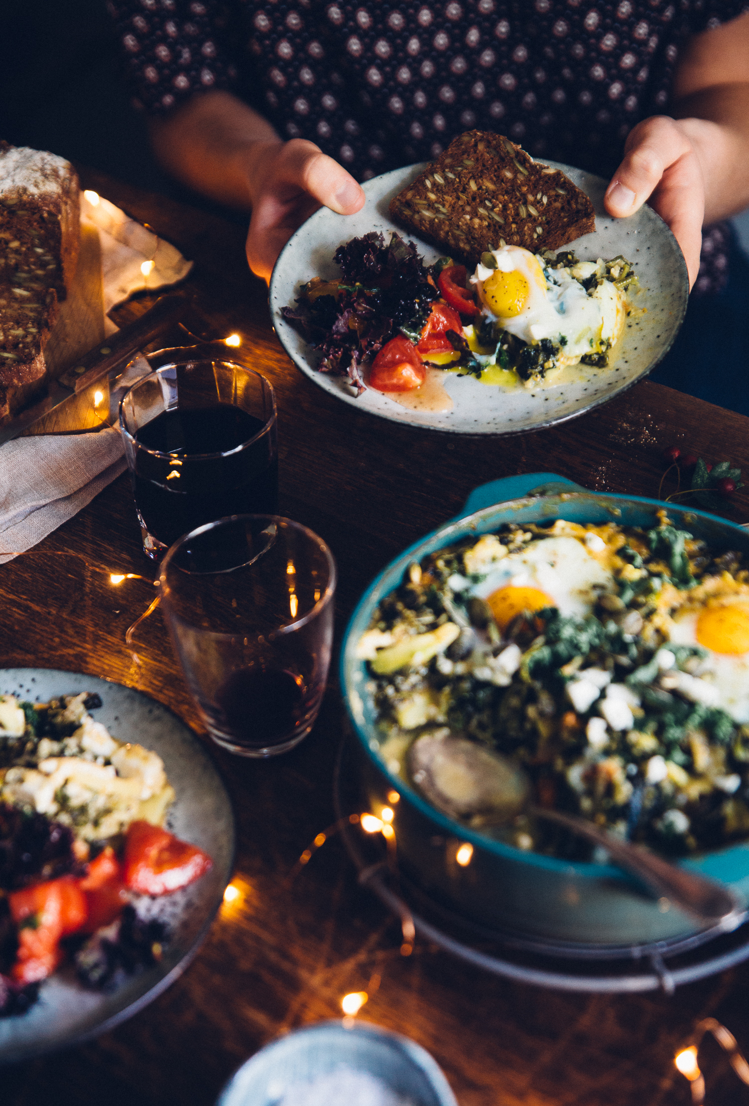 Green Harvest & Quinoa Shakshuka with Smashed Tomato Salad | Cashew Kitchen
