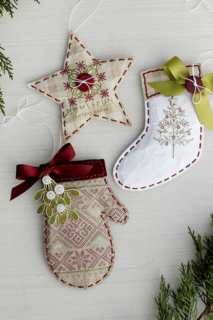 Puffy Paper Ornaments Using the Beaded Holiday Stitch Kit by Papertrey Ink