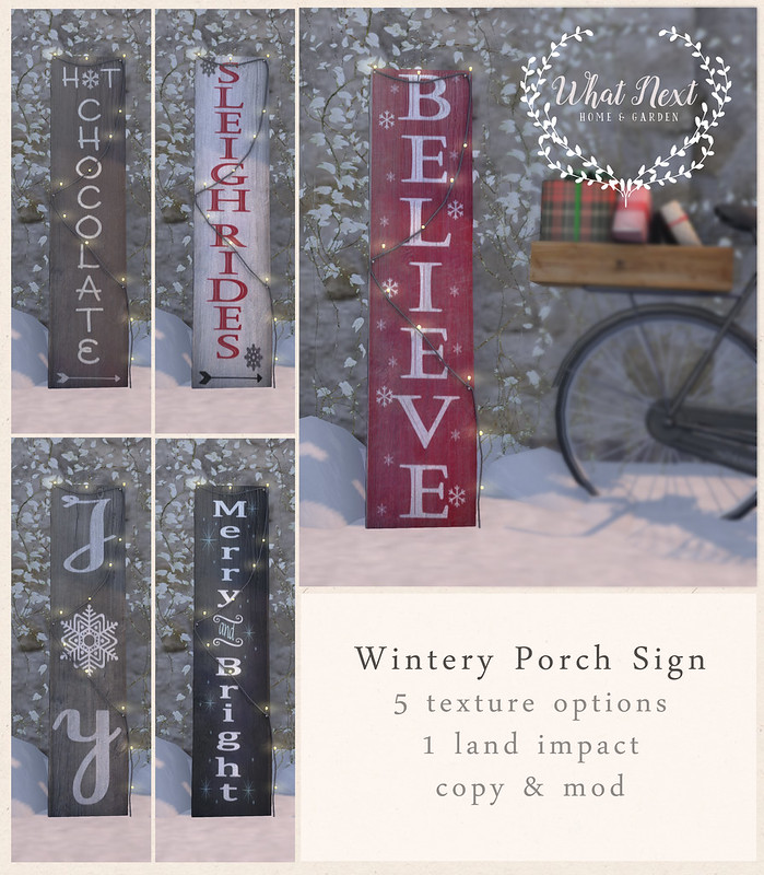 {what next} Wintery Porch Sign for Fifty Linden Friday