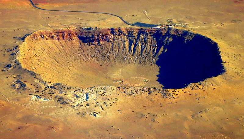 Arizona crater, the best preserved meteorite crater on Earth, made by a meteorite 50 meters across