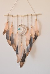 Feather Art Decor, Driftwood Art, Dream catcher Crescent Moon, Wall Hanging Tapestry, Turquoise Stone, Hippie Wall Decor, Boho Wall Tapestry