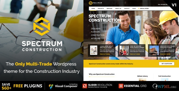 Spectrum v2.0.7 – Multi-Trade Construction Business Theme