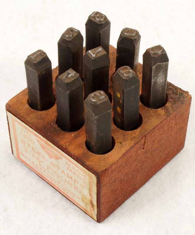 RD14695 Millers Falls 3-16th inch Figures Steel Number Punch Stamps Set No 1550 USA DSC06509