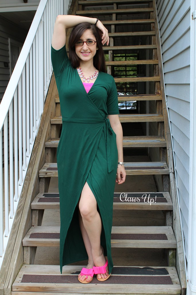 Green wrap dress, hi-lo dress.