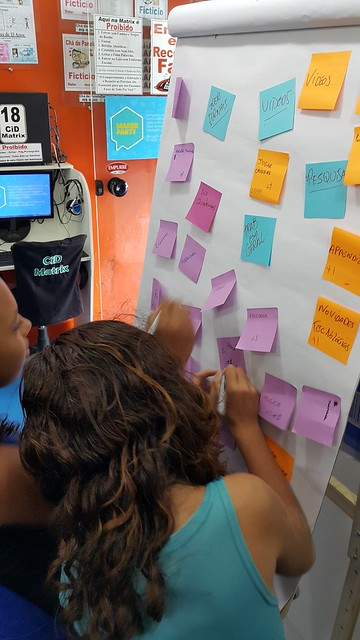 Photo of club members using post-it notes and flipchart