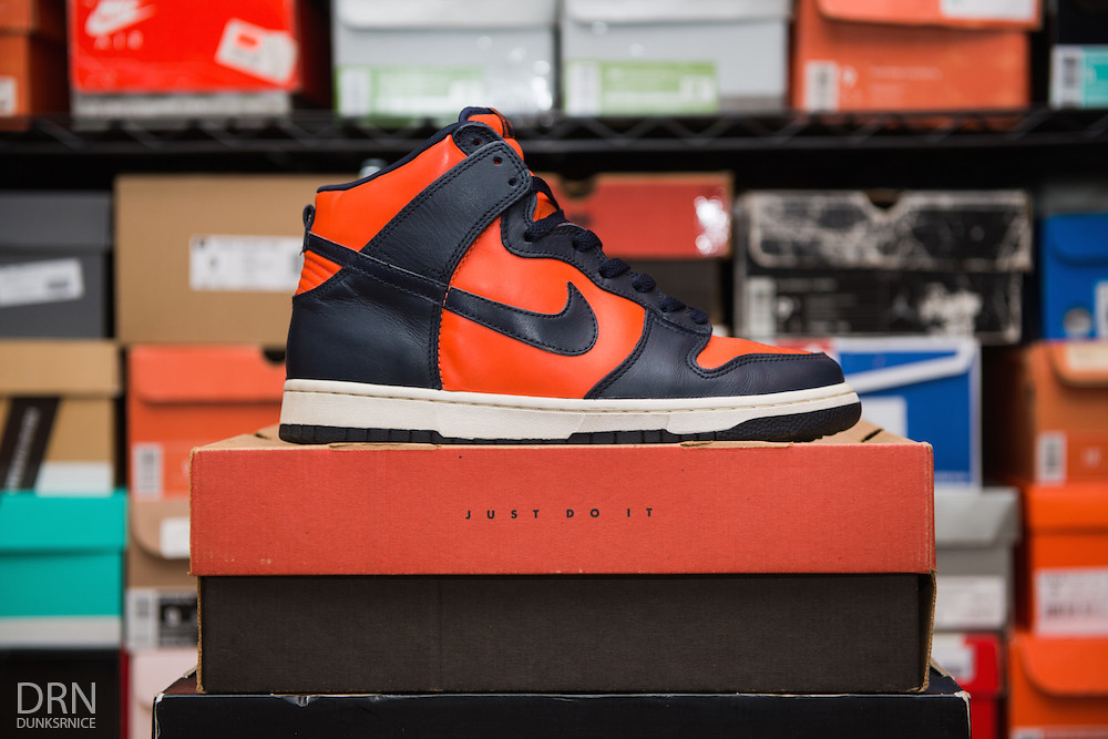 Orange & Navy Dunk High's.