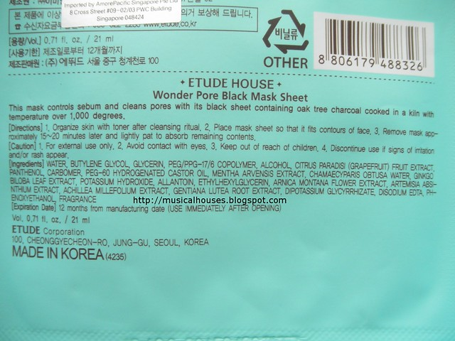 Etude House Wonder Pore Black Mask Ingredients