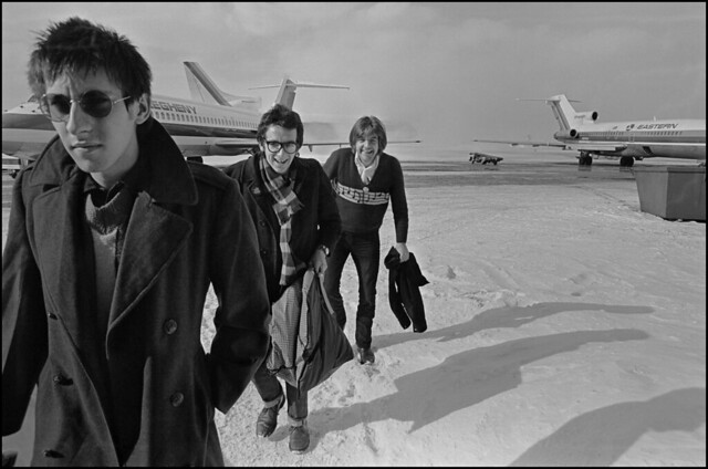 Steve Nieve, Elvis Costello and Nick Lowe arriving at airport