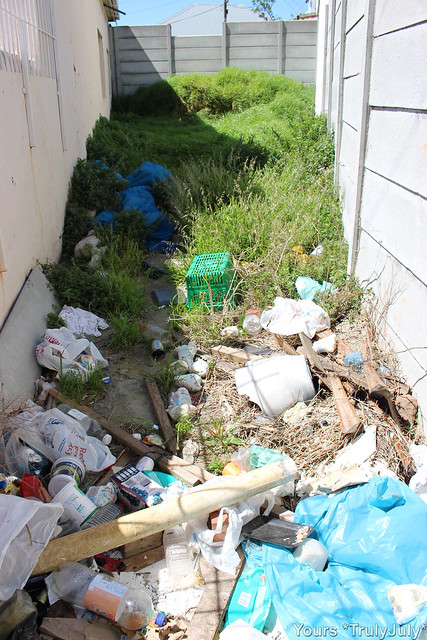 The abandoned plot's earth is up to 1,5m above ground level. The resulting dampness in the neighbouring property walls is causing damage. The rubbish is unsightly, too.