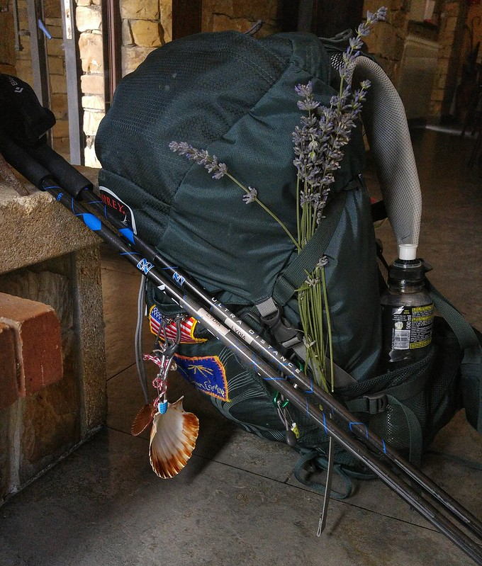 A pilgrim's backpack on the Camino