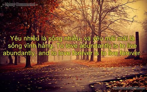 Yêu nhiều là sống nhiều, và yêu mãi mãi là sống vĩnh hằng. To love abundantly is