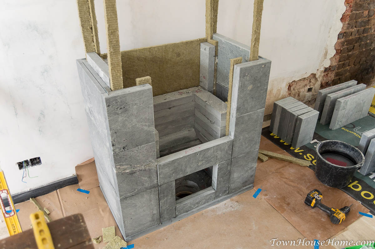 Soapstone fireplace installation third layer