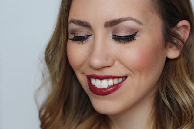 Black Cherry Lipstick | Faux Eyelashes | Makeup Tutorial