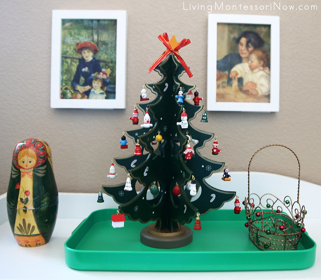 Montessori Miniature Wooden Christmas Tree Activity