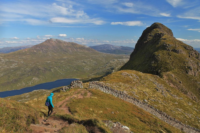 Descending a windy Suilven