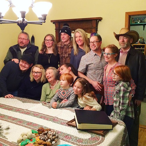 Frances surrounded by her grandchildren (and a few great-grandchildren).