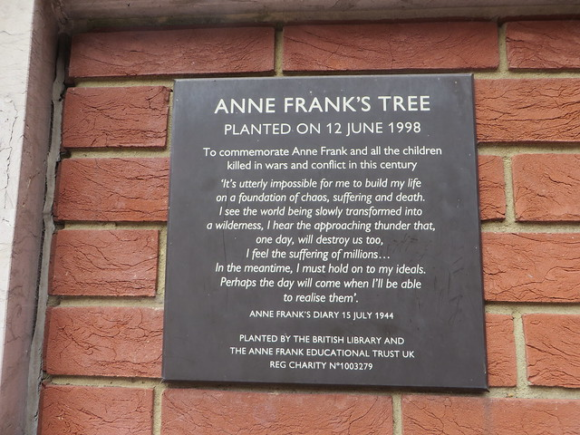Plaque of Anne Frank's tree
