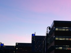 Crescent moon over Aston University and sunset