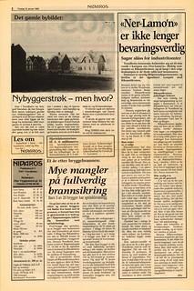 'Et år etter bryggebrannen - Mye mangler på fullverdig brannsikring' / 'Ner'Lamo'n' er ikke lenger bevaringsverdig' (1985)