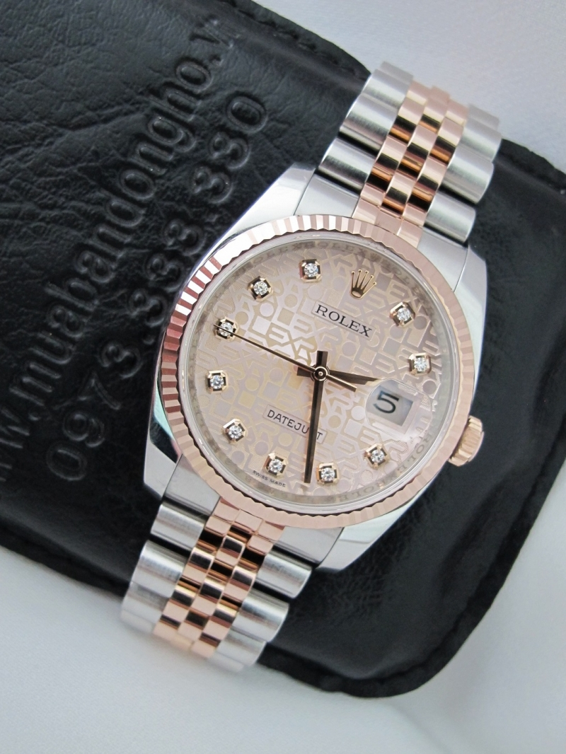 Bán đồng hồ rolex datejust 6 số 116231 – mặt vi tính xoàn – đè mi hồng – size 36