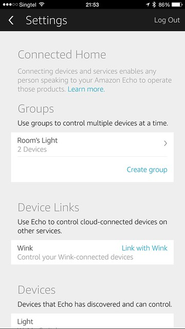 Amazon Echo iOS App - Settings - Connected Home