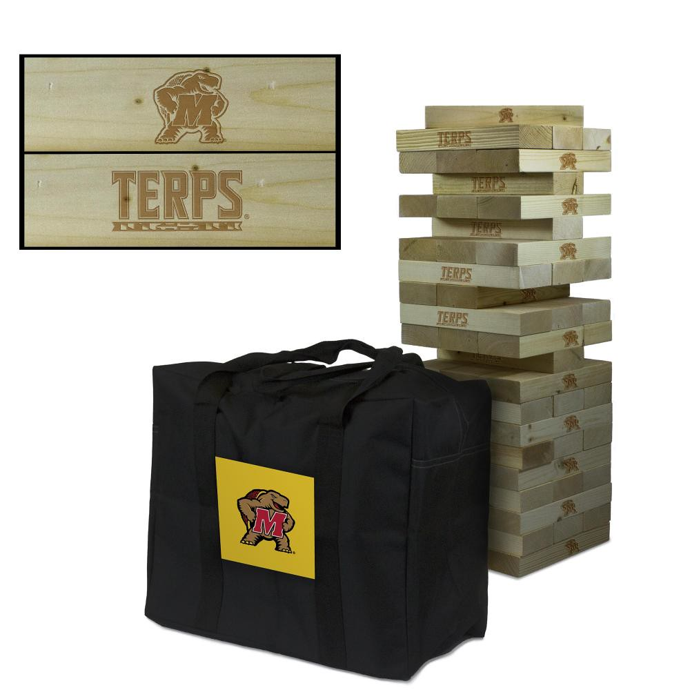 Maryland Terrapins Wooden Tumble Tower Game
