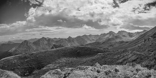 sky blackandwhite panorama mountain black mountains nature monochrome clouds landscape nikon hiking pano exploring peak panoramic explore macedonia photomerge landschaft cloudporn skyporn korab nikond5100
