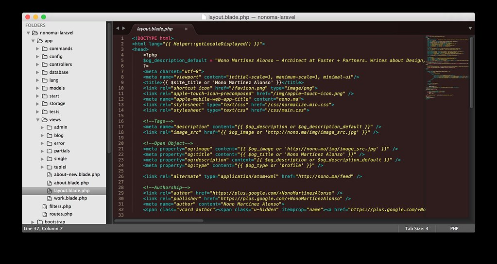 Editing the Laravel project of nono.ma on Sublime Text