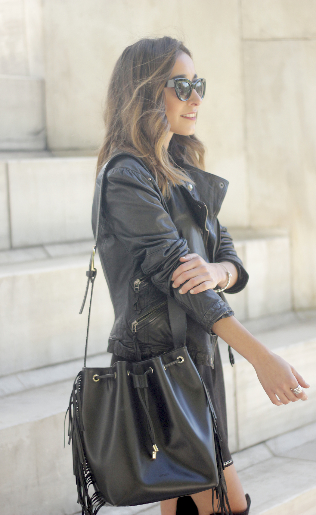 Black Leather jacket With Suede Black Dress Over the knee boots02