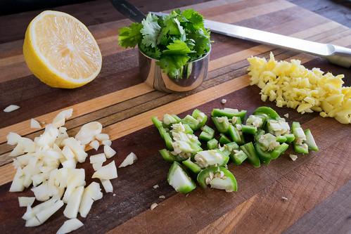 fresh garlic, ginger, peppers, cilantro and lemon