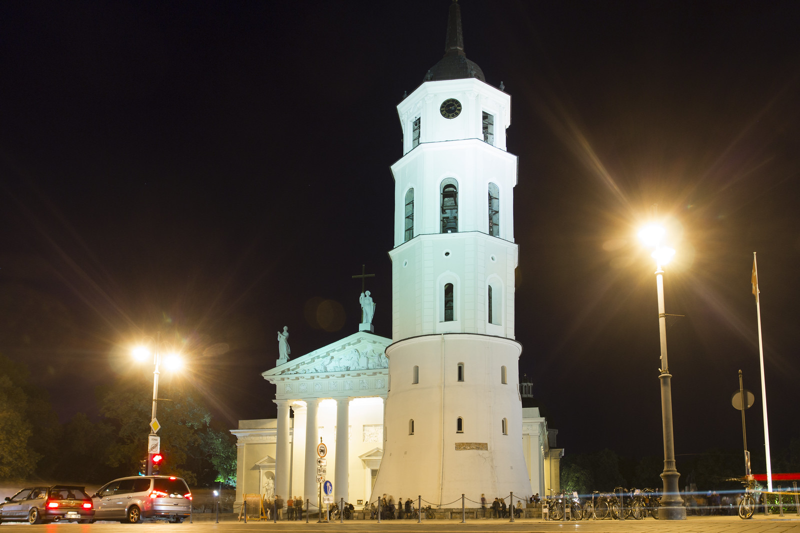White tower in Vilnius at night