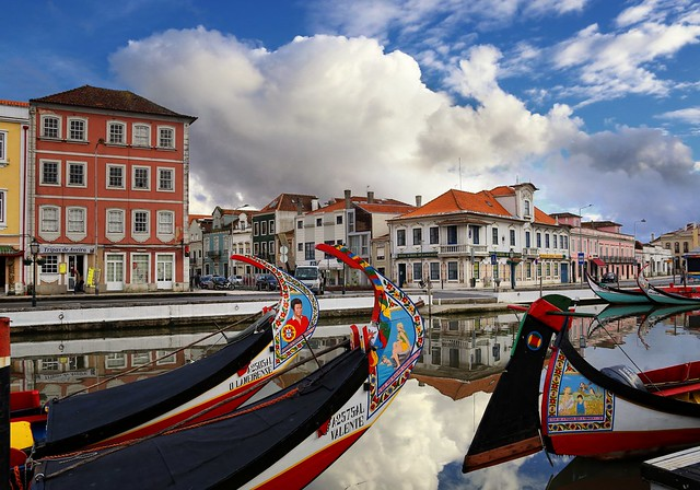 Picturesque town Aveiro built on a networks of channels