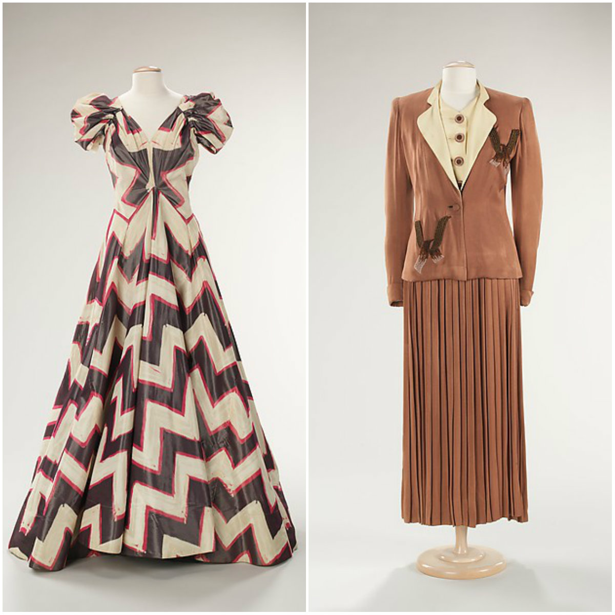 1940s. 'Féminité' dress and Ensemble. Silk, synthetic, beads. metmuseum
