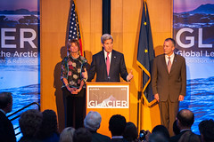 Secretary Kerry, joined by Alaska Senators Lisa Murkowski and Dan Sullivan, speaks about the importance of Arctic climate change at the Welcoming Reception for the Global Leadership in the Arctic: Cooperation, Innovation, Engagement, and Resilience (GLACIER) Conference, at the Anchorage Museum, in Anchorage, Alaska, on August 30, 2015. [State Department Photo / Public Domain]