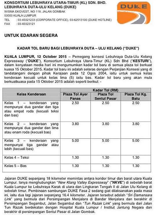 duke highway new toll rates