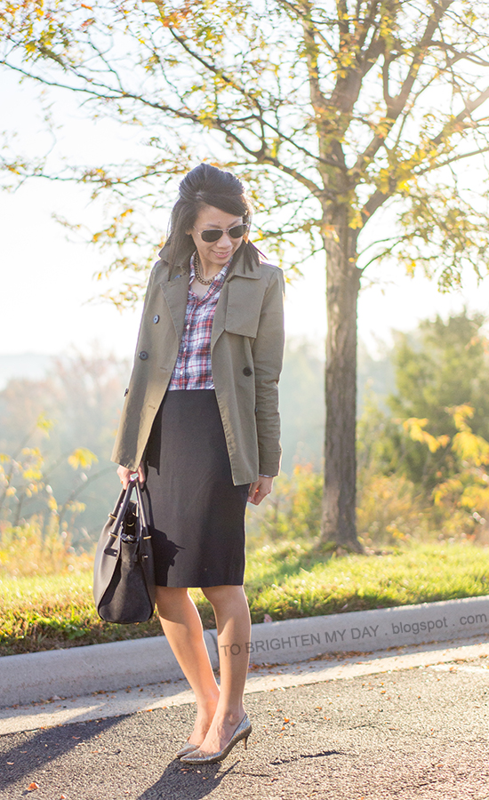 green swing trench jacket, plaid shirt, navy pencil skirt, glitter pumps