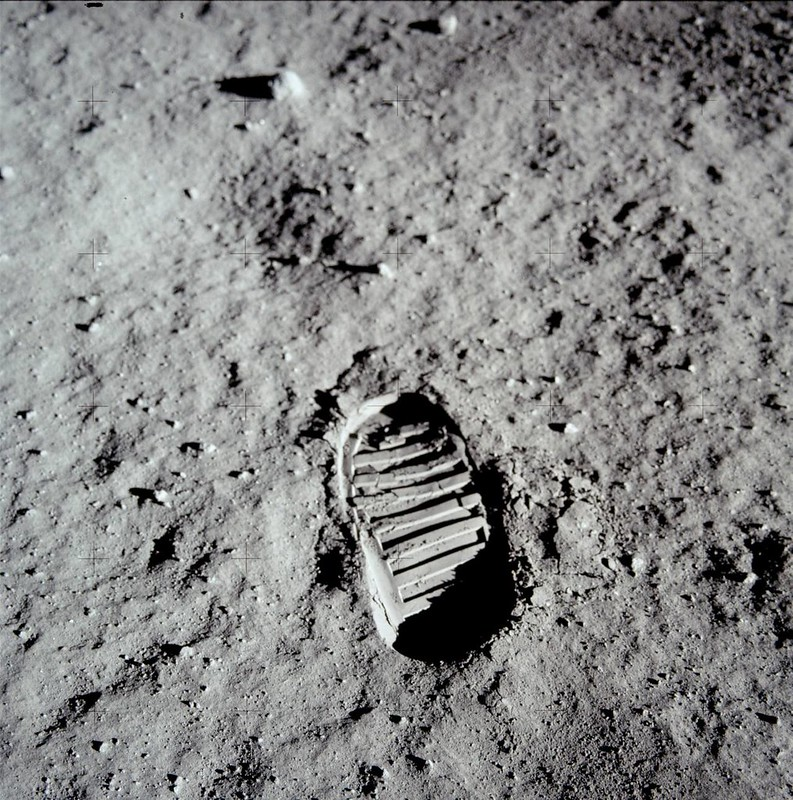 The first human footprint on the Moon