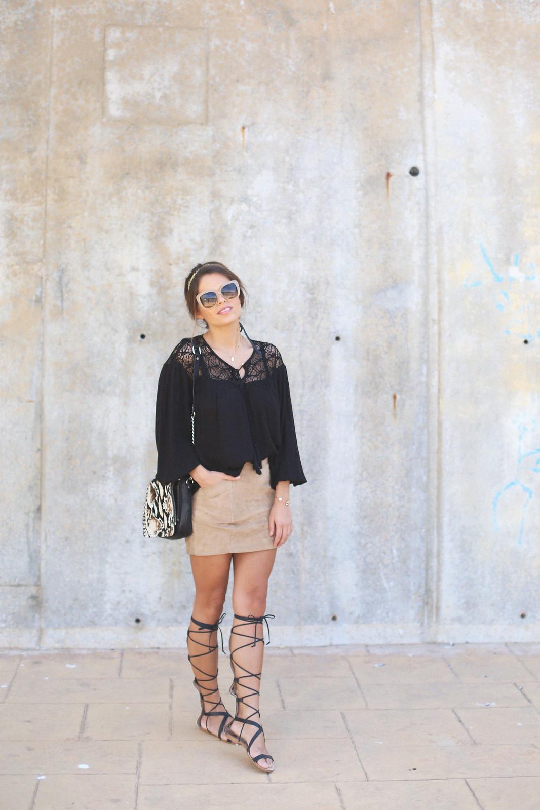 8.black boho top camel suede skirt gladiator sandals golden headband seams for a desire jessie chanes