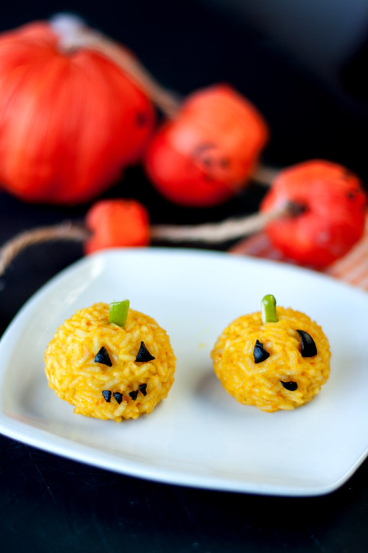 Mini-zucchette di riso di Halloween