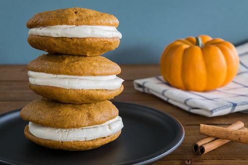 a stack of pumpkin whoopie pies
