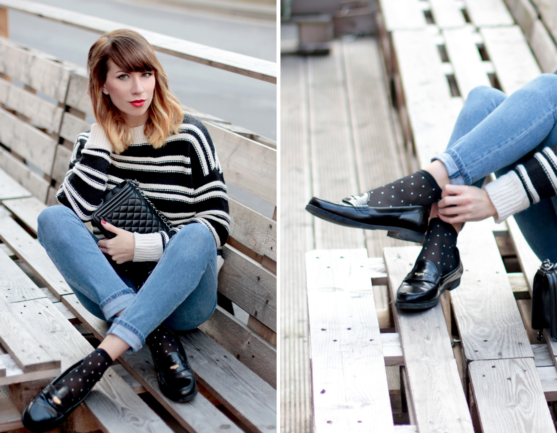 gant penny loafers h&m striped knit breton bretagne parisian style chanel le boy bag tailor swift style cute girl ricarda schernus fashionblogger cats & dogs blog6