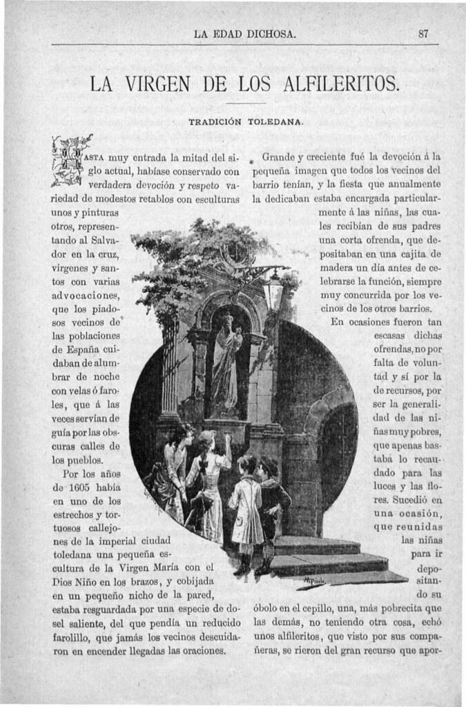 Tradición de la Virgen de los Alfileritos publicada en La Edad Dichosa el 2 de febrero de 1892 por Vicente Poleró