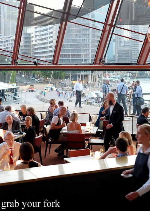 View of Circular Quay promenade from inside Bennelong Restaurant, Sydney food blog restaurant review