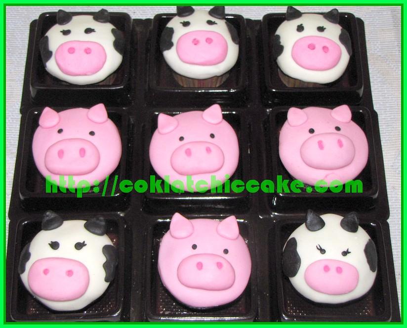 Mini cupcake binatang, mini cupcake sapi dan mini cupcake babi