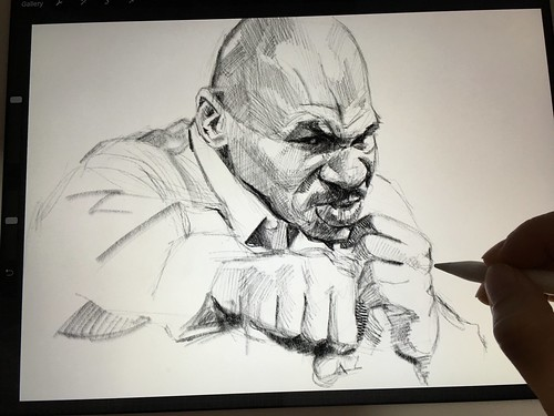 A face that I couldn't resist but to draw! Mike Tyson digital portrait sketch on iPad Pro + Apple Pencil + Procreate